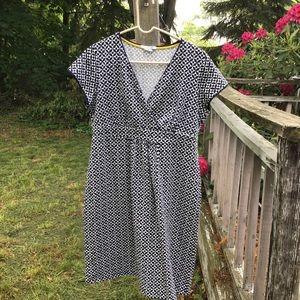 Boden Empire Waist Cap Sleeve Jersey fabric